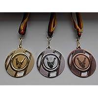 e247 Pokale & Preise Kegeln Kegler Pokal Medaillen 50mm 3er Set mit Band&Emblem Turnier Pokale