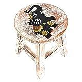 Holzhocker Kinderhocker Hocker Sitzhocker Fußbank Massivholz Schemel Stuhl mit Tiermotiv Deko weiß Farbe Elefant