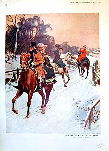 Pferd Druck-Damen-Reiten Hinter Herrn Anderer Gefährte Legt Hut 1911 152T145 ab