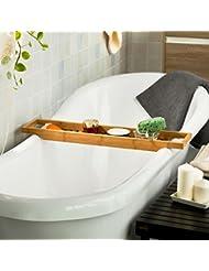 SoBuy® FRG18-N Pont de Baignoire en Bambou, Porte savon et gel douche, Serviteur de baignoire, L70cmxP14,5cmxH4,5cm
