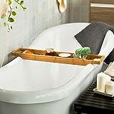 SoBuy® Bandeja para bañera de bambú, estante para ducha, estante de baño,FRG18(L70*P14.5*A4.5cm), ES