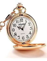 Mudder Clásico Liso Vintage Acero Reloj de Bolsillo para Hombre, Rosa Dorada