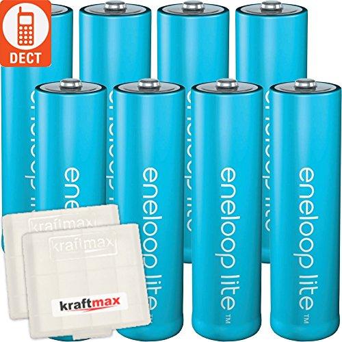 Kraftmax 8er-Pack LITE AA Panasonic Eneloop Akku für schnurlose Mäuse/Telefone
