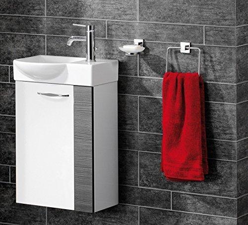 Fackelmann Sceno Badmöbel Set Gäste WC 2-teilig Farbe Weiß/Pinie-Anthrazit-Optik