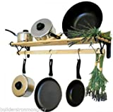 IRONMONGERY WORLD® Traditional Country Kitchen shelf pot pan rack holder Hanger with cast iron ends (ANTIQUE IRON / PEWTER 0.9M / 3 FOOT)