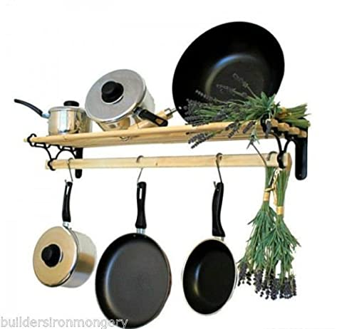 IRONMONGERY WORLD® Traditional Country Kitchen shelf pot pan rack holder Hanger with cast iron ends (BLACK ANTIQUE 0.9M / 3 FOOT)
