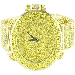 14K Gelb Gold Finish Schritt Style Herren Techno Pavé Bling King Metall Armbanduhr
