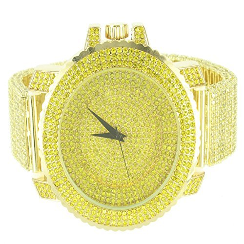 14K Giallo Oro Finitura passo stile uomo Techno Pave Bling King in metallo orologio da polso