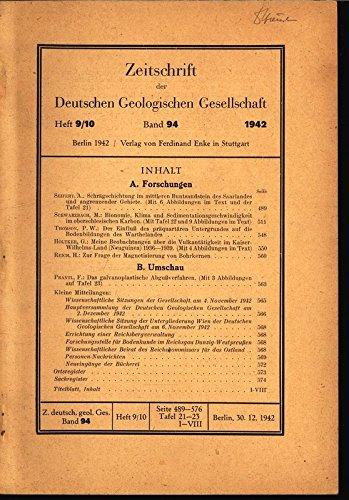 Bionomie, Klima und Sedimentationsgeschwindigkeit im oberschlesischen Karbon, in: ZEITSCHRIFT DER DEUTSCHEN GEOLOGISCHEN GESELLSCHAFT, Bd. 94, Heft 9-10, 1942.