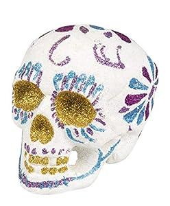 Decoración calavera purpurina Sugar Skull Blanco taglia unica Bianco