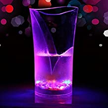 Soldcrazy luminoso colorato trasparente acqua vetro organico tazza tazze illuminazione a LED calice acqua Flash induzione tazza per feste, transparent color, Vase type