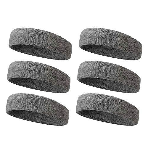 BEWISH Sport Stirnband 6 Stück Schweißbänder Feuchtigkeit Wicking -