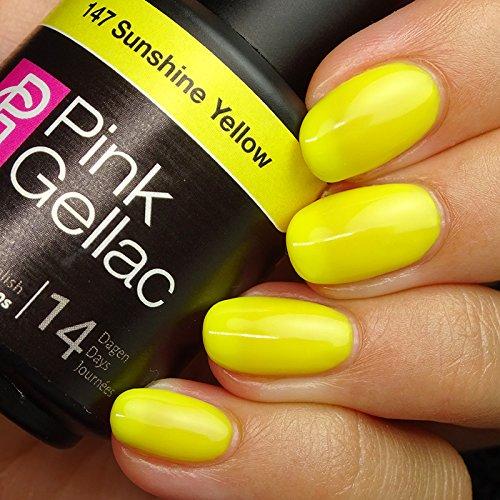 Vernis à ongles Pink Gellac 147 Sunshine Yellow. 15 ml gel Manucure et Nail Art pour UV LED lampe, top coat résistant shellac