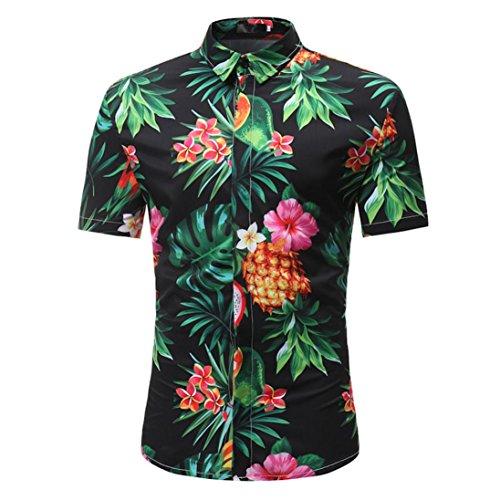 Camisa Estampada De Manga Corta para Hombres AIMEE7 Camisas De Hombre De Verano Camisas De Hombre Manga Corta Camisas Casual Hombre Camisas Seda Hombre Camisas De Hombre Hawaianas (M, Negro)