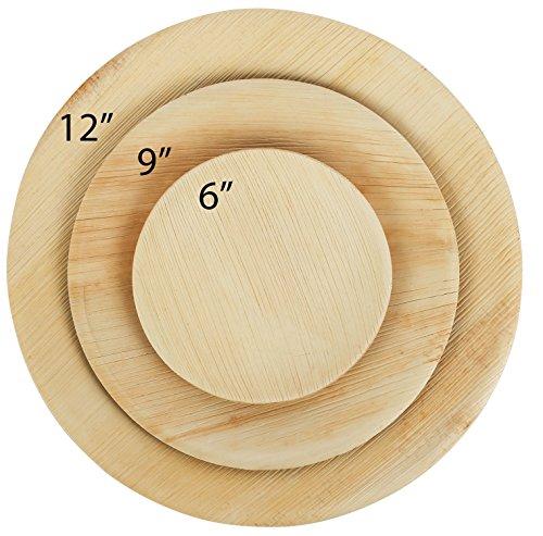 Brheez Palm Leaf Einweg Bambus wie Runde Natural6 Inch Plates - Brown Palm Leaf