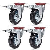 4 Ruote Girevoli rotelle per Mobili, unità con freno,Ruota gomma Ø75mm ,Capacità 150 kg