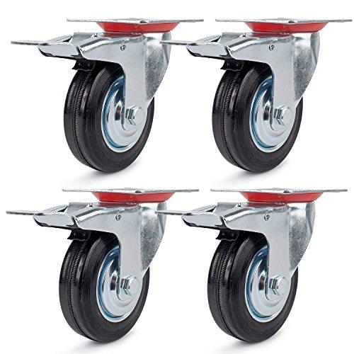 Lenkrollen mit Bremse 75mm Transportrollen Schwerlastrollen Möbelrollen Apparaterollen Stahlblech Verzinkt Schwarz Gummi Rollen 75mm