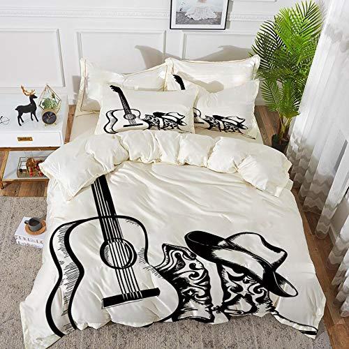 Yaoni Bettwäsche-Set, Mikrofaser, Western, Country-Musik-Thema mit Cowboy-Schuh-Hut und Gitarreninstrument-Skizzen-Kunst, Schwarzweiss,1 Bettbezug 200 x 200cm + 2 Kopfkissenbezug 80x80cm