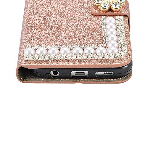 Sunroyal Etui Lederhülle für Samsung Galaxy S6 Edge Diamant Bling 3D Rhinestone Book Type Schutzhülle Magnetverschluss PU Leder Hülle Flip Tasche Wallet Case Cover HandyHülle Bookstyle Brieftasche mit Orange