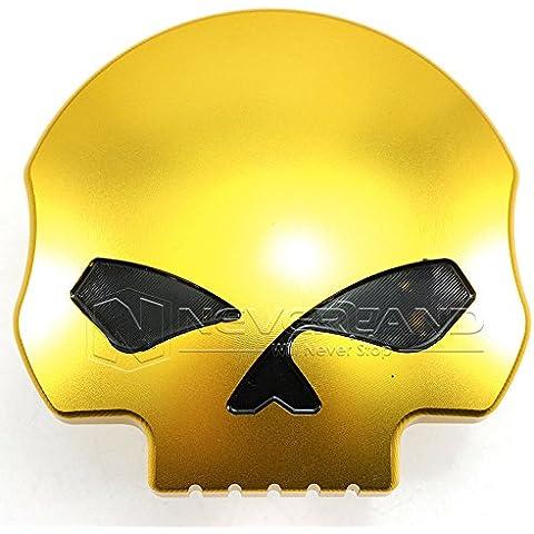 lesuzza (TM) New Moto Oro Teschio in alluminio carburante Gas Serbatoio olio tappo per Harley Sportster 12008831996-Up # 90C30
