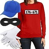 Panzerknacker Banditen Bande Kostüm Pulli + MÜTZE + Maske + Handschuhe Frauen Sweatshirt X-Large Rot