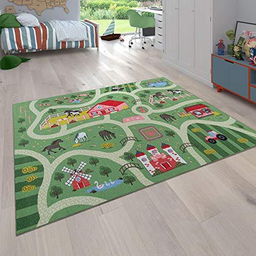Paco Home Spielteppich Rosa Grün Kinderzimmer Straßen Motiv Pferde Bauernhof Schloss, Grösse:Ø 160 cm Rund