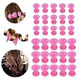 30 Stück Silikon Lockenwickler, Beautyshow Silikon keine Hitze Haar Lockenwickler DIY Hair Styling Tools keine Klipp Haar Curler Lockenwickler Roller -Rosa