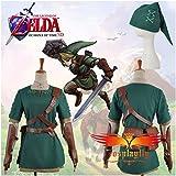 Disfraz de Link de La Leyenda de Zelda para adulto, para cosplay, camiseta, pantalones, cinturones, gorro y guantes