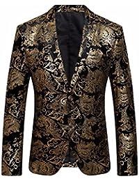 Lenfesh Blazer Fleur Premium, Veste de Costume Slim Fit pour Hommes 607da02e1c1