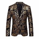 Blazer fleur d'or premium, Lenfesh Veste de costume Slim Fit pour hommes (XXXL, Or)