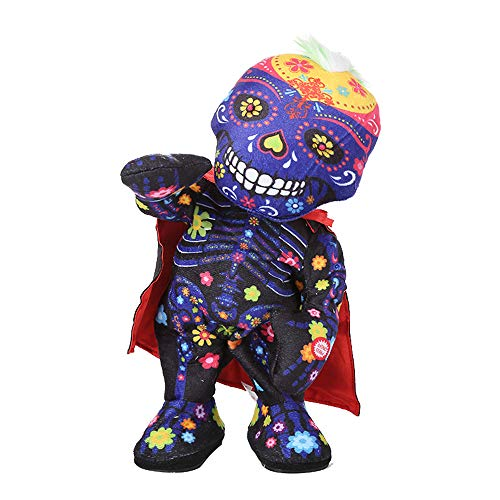 Halloween skull zombie doll - can twist, sing and dance - H.eternal  Happy Animated Party Decoration Toy (Not included batteries) (B)