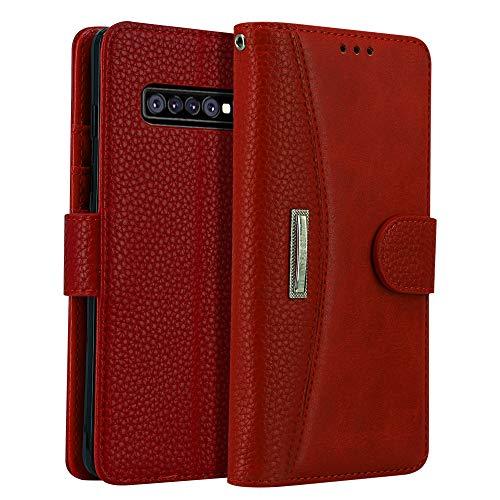 LOKAKA Leder Handyhülle für Samsung Galaxy S10, Handyhülle Handystand Kartenfächern Lu
