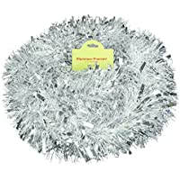 Christmas Concepts® 3m / 9.8ft Chunky/Fine Christmas Tinsel - Christmas Decoration Tinsel (Matte White & Silver)