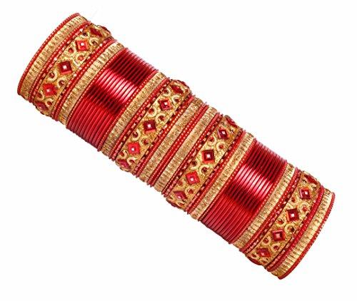 Shiv-Collection  -    Metalllegierung       (Indische Armreifen Rot)