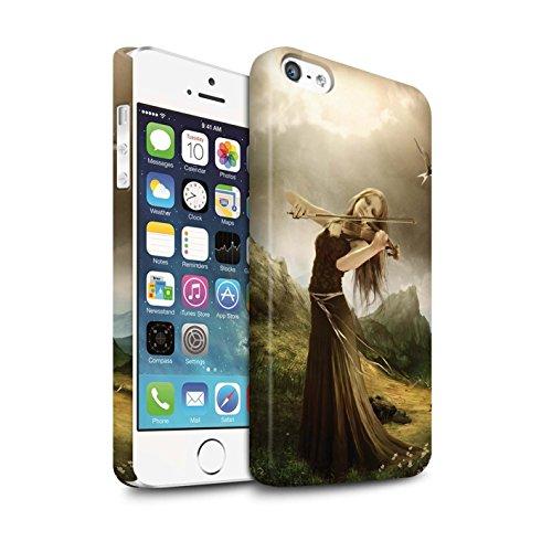 Officiel Elena Dudina Coque / Clipser Matte Etui pour Apple iPhone 5/5S / Mélodie du Silence Design / Réconfort Musique Collection Chanson de Fleurs