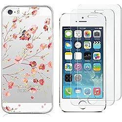 Reshias Coque iPhone 5 Silicone [Antichoc] Souple TPU Housse Bumper Soft Case Cover Coque pour Téléphone iPhone Se / 5S / 5 avec (2 Pack) Verre trempé écran Protecteur