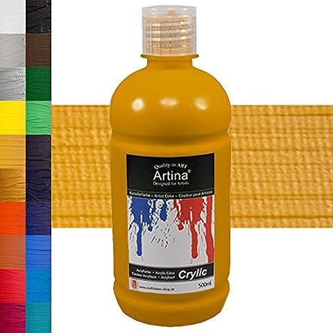 Colore acrilico Artina - 500ml - giallo ocra - disponibili 24 diverse tonalità
