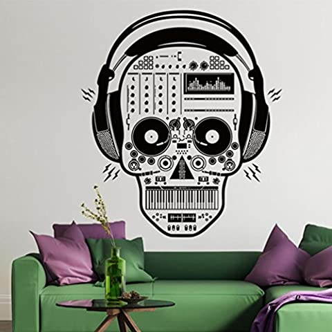 Kingko® Earphone Skull Pattern Background Wall Decorated Living Room Bedroom Stickers Festival Decal