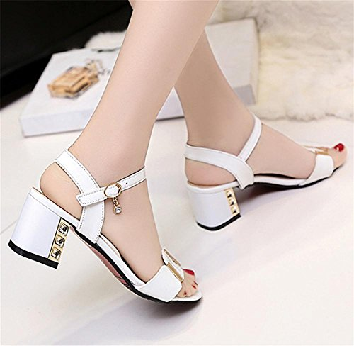 pengweiRough con sandali in pelle Ladies Summer Festival con pantofole eleganti White