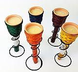 CITRONELLA 4 Stück Kerzen mit Terracotta Topf und Fackel mit Metallständer