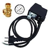 AWM Hauswasserwerk Druckschalter Set 3 tlg. verkabelt Automatische Pumpensteuerung 5 Wege Verteiler Messing Manometer Druckanzeige, AM-HWW-DS-3T