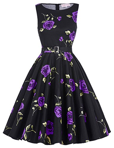 Belle Poque weiß Kleid Damen Rockabilly Vintage Kleid Knielang Petticoat Kleid Retro Kleid...