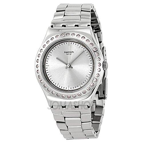 Swatch SReloj Ironía puro Polvo Plata Dial Acero inoxidable Acero Damas Reloj YLS172G
