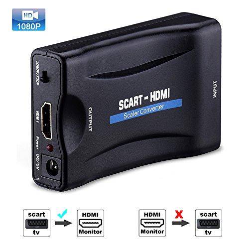 Tiancai Scart a HDMI 1080P Convertidor de Euroconector a HDMI Adaptador de Vídeo Escalador para Inteligente Teléfono Xbox PS3 PS4 Sky HDTV DVD Blu- ray
