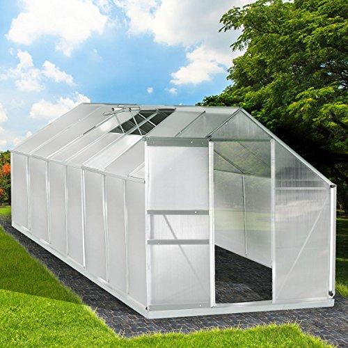 Aluminium Gewächshaus mit Stahlfundament 17,2 m³ Alu Gartenhaus Treibhaus 430x250x205cm 6mm...