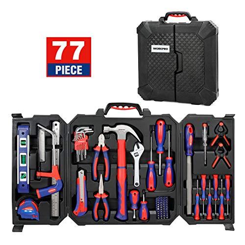 WORKPRO Werkzeugkoffer Set, Haushalt Werkzeugset mit Werkzeugkasten, für Home Reparatur Heimwerker 77-teilig