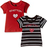 #2: United Colors of Benetton Baby Girls' T-Shirt (16A3094CSAKII9011Y_Red and Black_1Y)