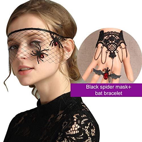Maske Damen, Funpa Halloween Sexy Damen Masquerade Spitze Maske Spinne Augenmaske Venezianischen Gesichtsmaske mit Spitze Armbänder für Karneval Party Cosplay Kostüm