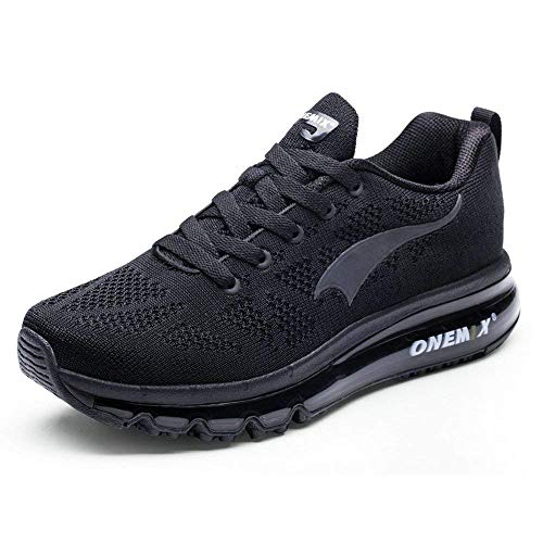 ONEMIX Cuscino d'Aria Knit Trail da Uomo Scarpe da Corsa 2018 Scarpa da Camminata Leggera Athletic Outdoor Sports da Jogging Palestra Trainer Shoes Sneaker Nero 43