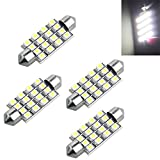 4 AUTO LAMPADINA SILURO 16 LED SMD 3528 BIANCO MM 42